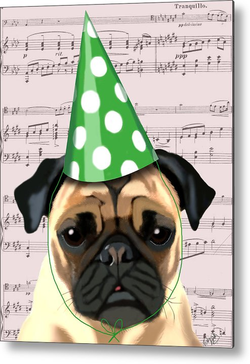 Pug Framed Prints Metal Print featuring the digital art Pug In A Party Hat by Kelly McLaughlan