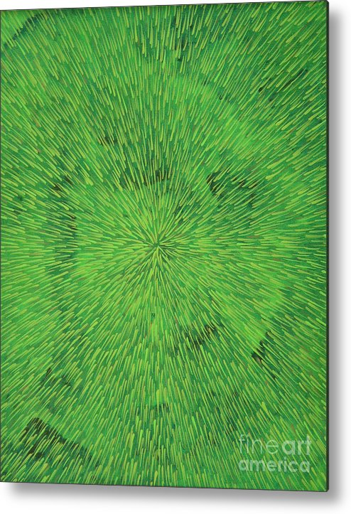 Abstract Metal Print featuring the painting Radiation Green by Dean Triolo