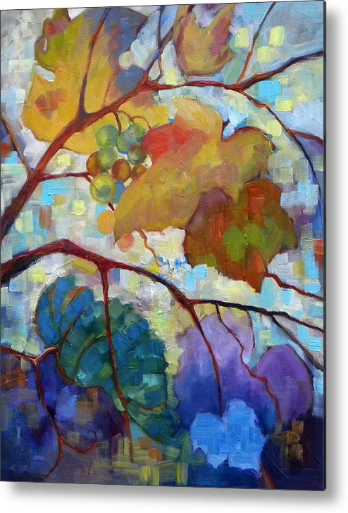 Grapes Metal Print featuring the painting Red Grape Vines IIi by Peggy Wilson