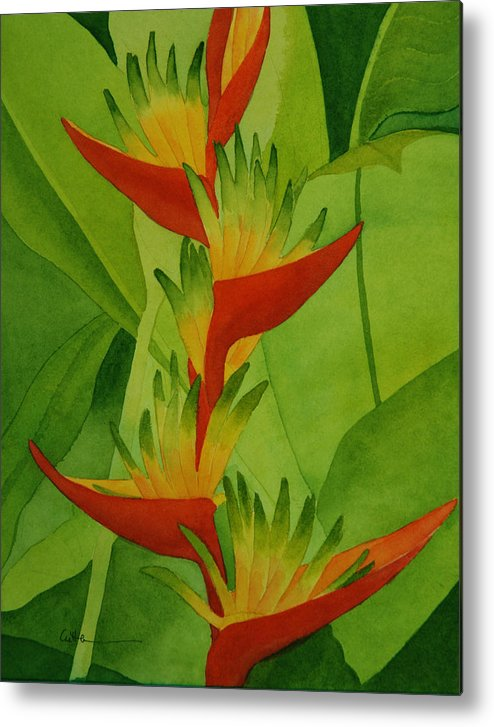 Heliconia Metal Print featuring the painting Rojo Sobre Verde by Diane Cutter