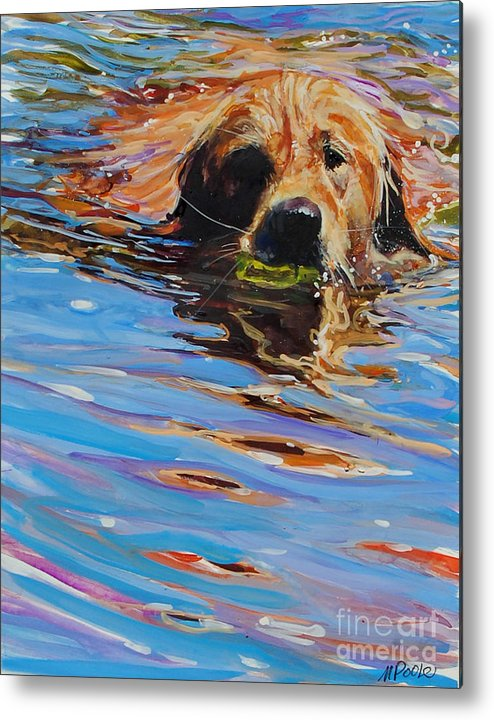 Golden Retriever Metal Print featuring the painting Sadie Has A Ball by Molly Poole