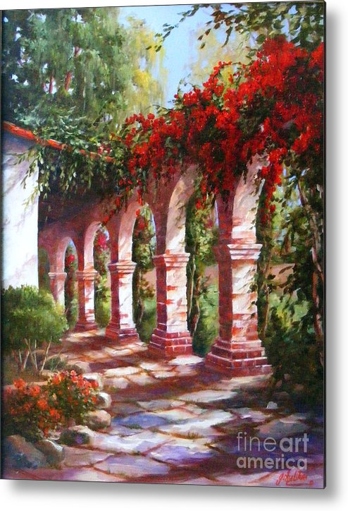 San Juan Capistrano Mission Metal Print featuring the painting San Juan Capistrano Mission by Gail Salitui