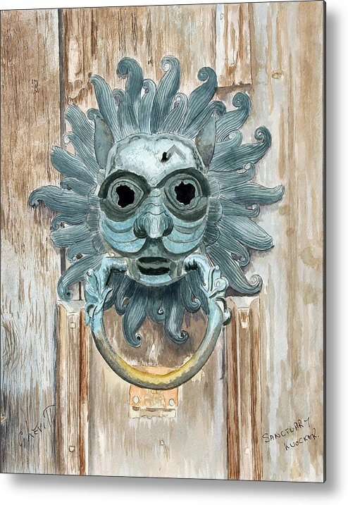 Door Metal Print featuring the painting Sanctuary Knocker by George Levitt