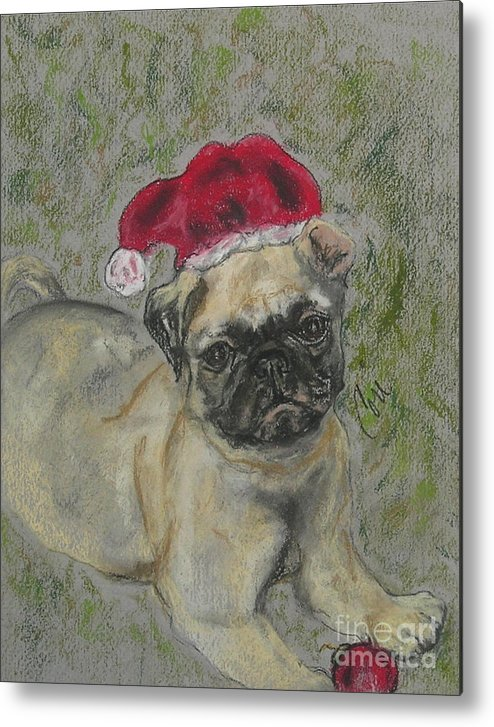 Pug Metal Print featuring the drawing Santa's Little Pugster by Cori Solomon