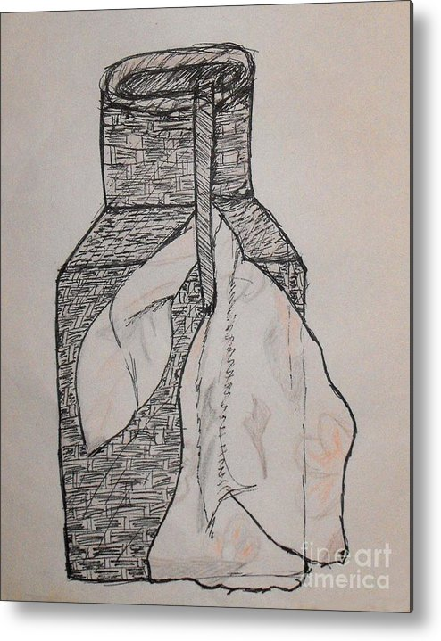 Wicker Metal Print featuring the drawing Scarved Wicker Jar by Catherine Ratliff