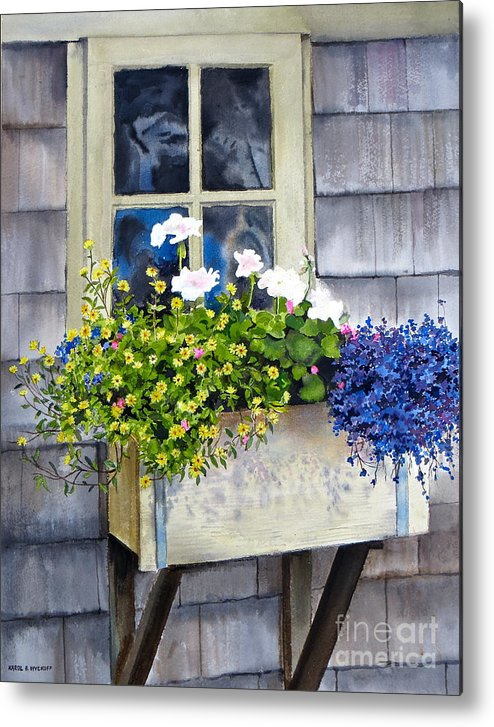 Window Metal Print featuring the painting 'sconset Window Box by Karol Wyckoff