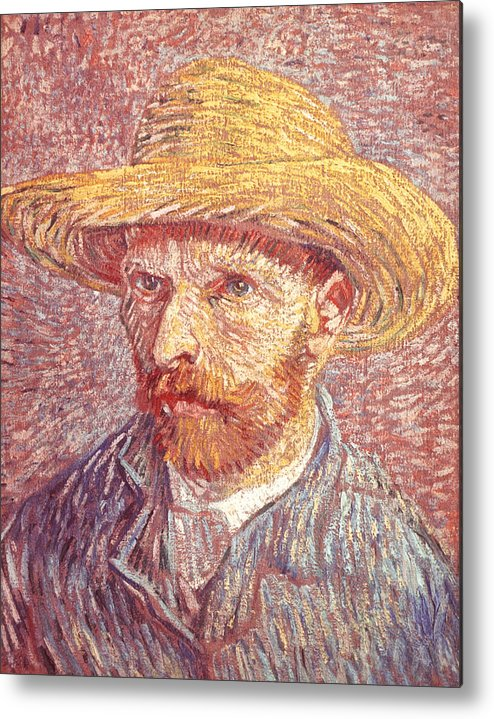 41fb7389396 Painter Metal Print featuring the drawing Self-portrait Of Vincent Van Gogh  In A Straw