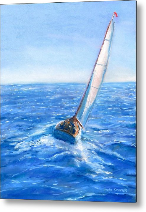Sailboat Metal Print featuring the painting Slip Away by Jack Skinner