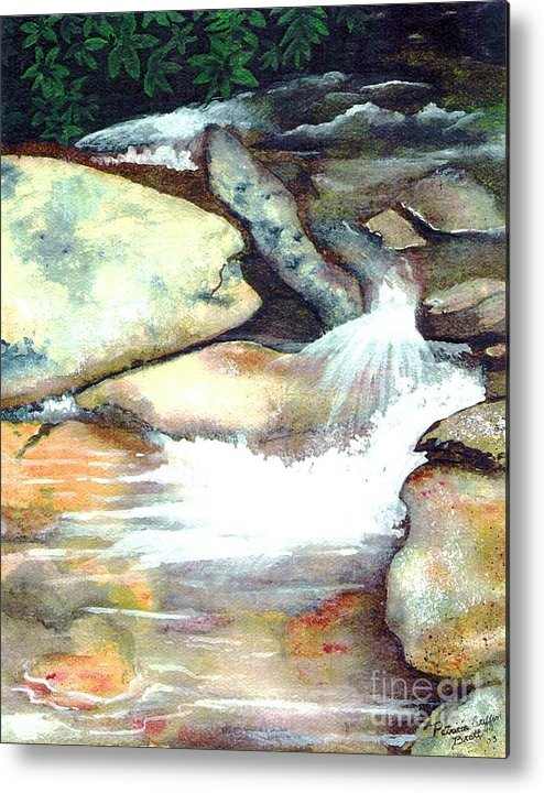 Fine Art Metal Print featuring the painting Smoky Mountains Waterfall by Patricia Griffin Brett