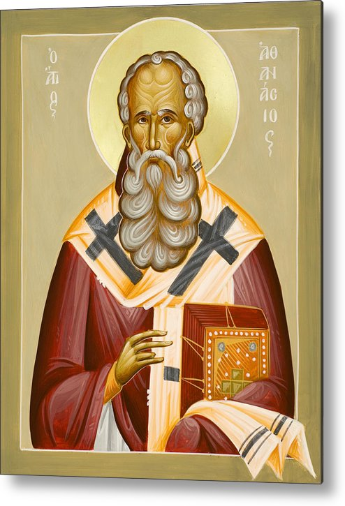 St Athanasios The Great Metal Print featuring the painting St Athanasios The Great by Julia Bridget Hayes