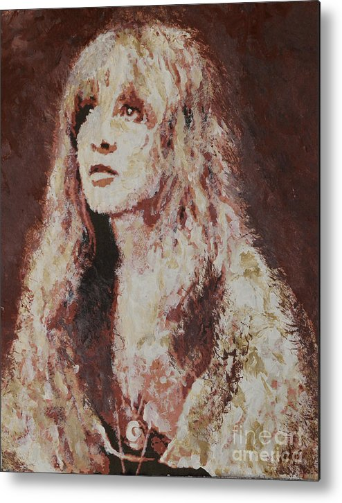 Stevie Nicks Metal Print featuring the painting Stevie Nicks by Alys Caviness-Gober