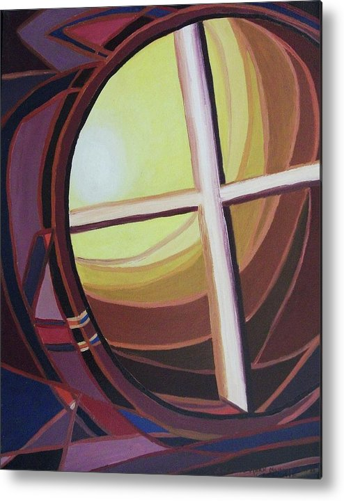 Abstract Metal Print featuring the painting Struggle by Suzanne Marie Leclair