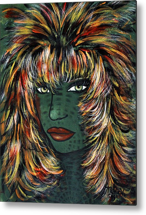 Woman Metal Print featuring the painting Tattoo by Natalie Holland