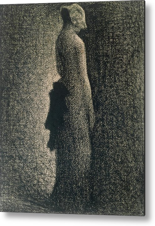 Ribbon Metal Print featuring the drawing The Black Bow by Georges Pierre Seurat
