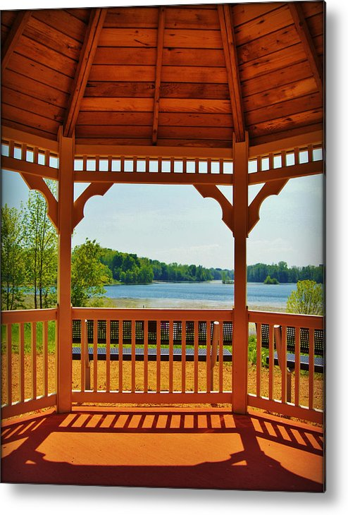 Collections By Carol Metal Print featuring the photograph The Gazebo Effect Silver Lake Manitowoc Wi by Carol Toepke