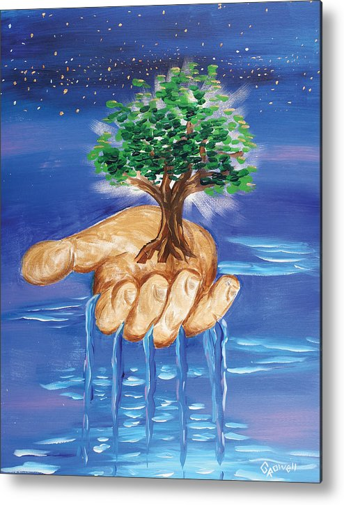 The Hand Of The Lord Metal Print featuring the painting The Hand Of The Lord by Gary Rowell