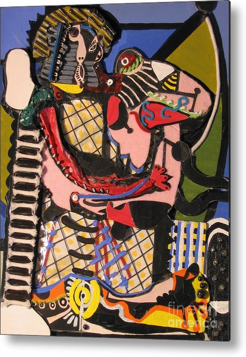 Abstract Metal Print featuring the mixed media The Kiss Aka The Embrace After Picasso 1925 by Mack Galixtar