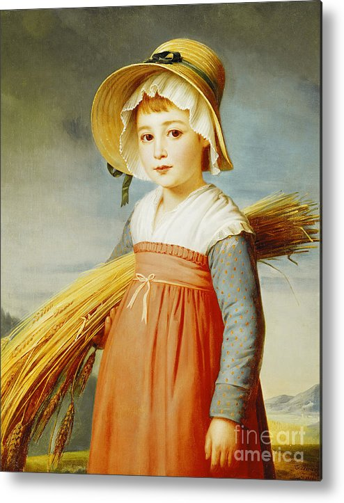Girl Metal Print featuring the painting The Little Gleaner by Christophe Thomas Degeorge