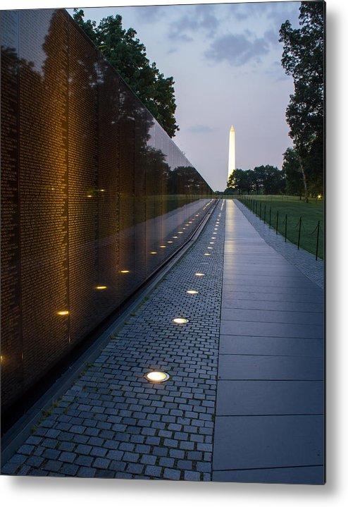 Landscape Washington D.c. Vietnam Memorial Monument  Metal Print featuring the photograph The Wall by Allen Dulaney