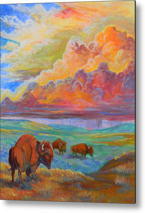 Plains Metal Print featuring the painting Thunderheads by Jenn Cunningham