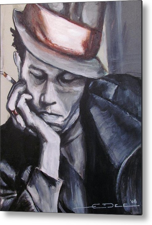 Celebrity Portraits Metal Print featuring the painting Tom Waits One by Eric Dee