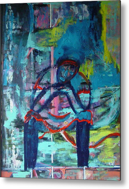 Woman On Bench Metal Print featuring the painting Waiting by Peggy Blood