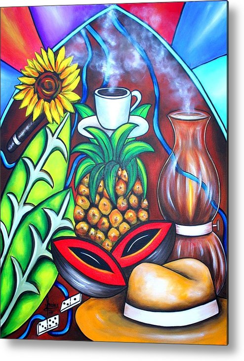 Cuban Paintings Metal Print featuring the painting Welcome To Here And Now by Annie Maxwell