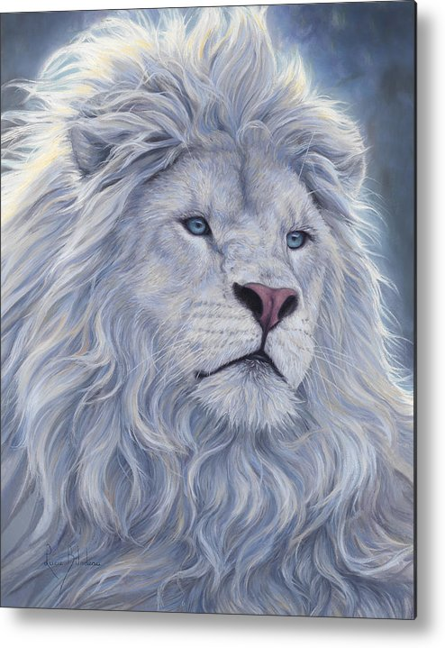 White Lion Metal Print featuring the painting White Lion by Lucie Bilodeau