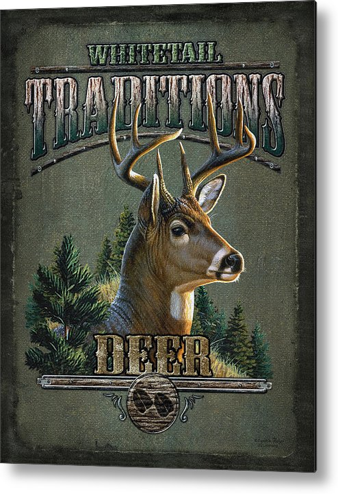 Cynthie Fisher Metal Print featuring the painting Whitetail Deer Traditions by JQ Licensing