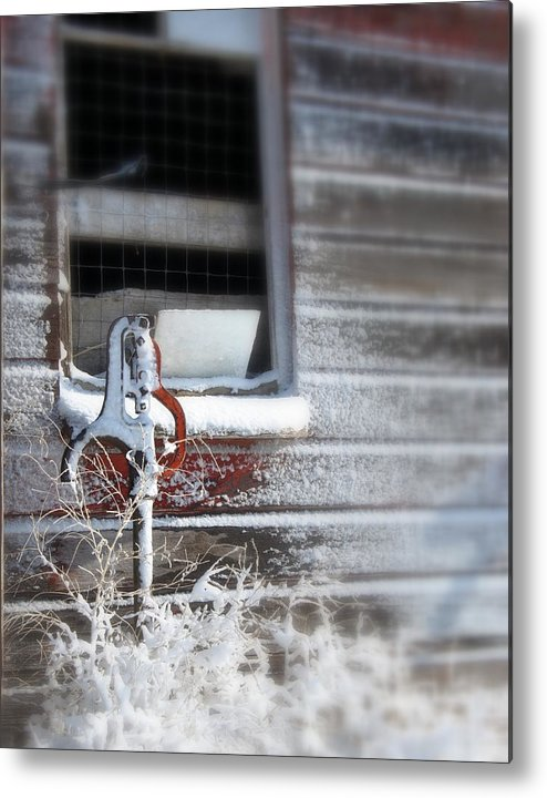 Barn Metal Print featuring the photograph Winter's Frost by Linda DeJager