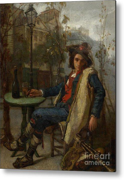 Young Italian Street Musician Metal Print featuring the painting Young Italian Street Musician by Thomas Couture