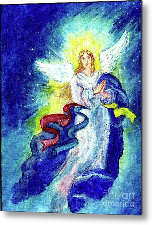 Angel Metal Print featuring the painting Angel Of Joy by Doris Blessington