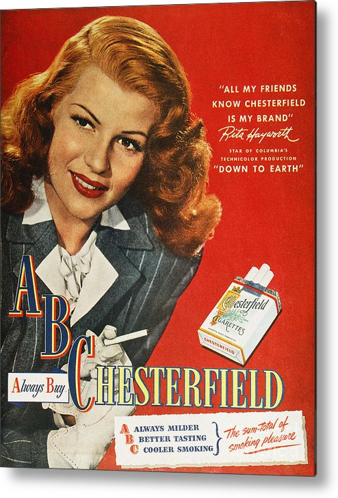 1947 Metal Print featuring the photograph Chesterfield Cigarette Ad by Granger