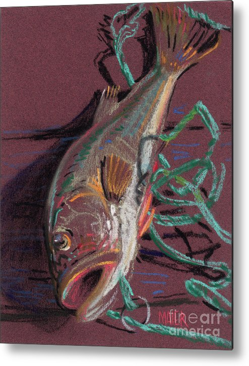 Bass Metal Print featuring the painting Louie's Catch by Donald Maier
