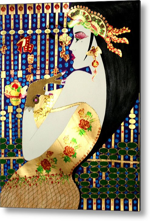 Asian Metal Print featuring the painting Ma Belle Salope Chinoise No.13 by Dulcie Dee