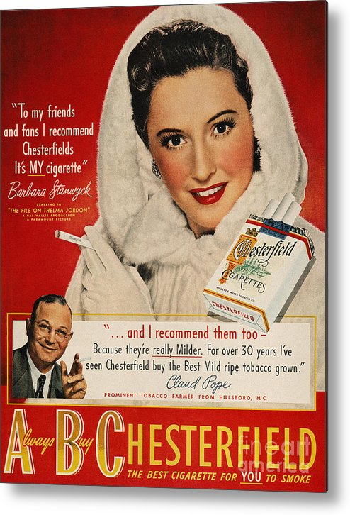 1949 Metal Print featuring the photograph Chesterfield Cigarette Ad by Granger