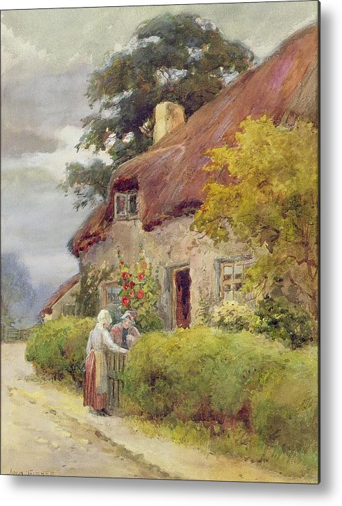 Thatched Cottage Metal Print featuring the painting An Evening Gossip by Joshua Fisher
