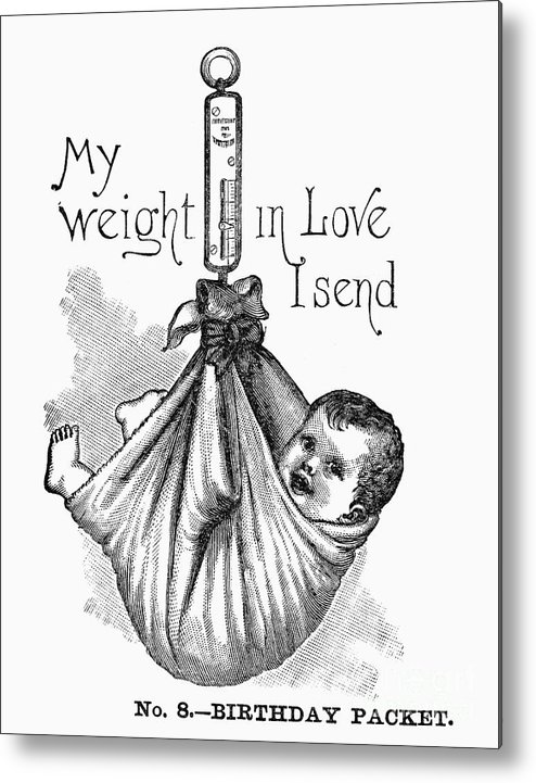 1887 Metal Print featuring the photograph Baby Being Weighed, 1887 by Granger