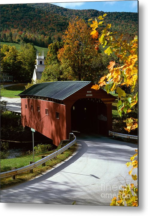 Arlington Metal Print featuring the photograph Covered Bridge In Vermont by Rafael Macia and Photo Researchers