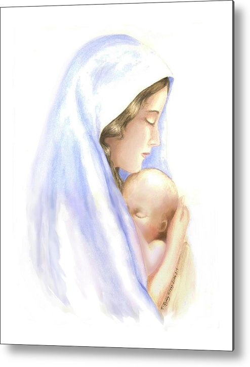 Watercolor Impressionist Portrait Of Mary And Child. Metal Print featuring the painting First Born by Roberta Roddy