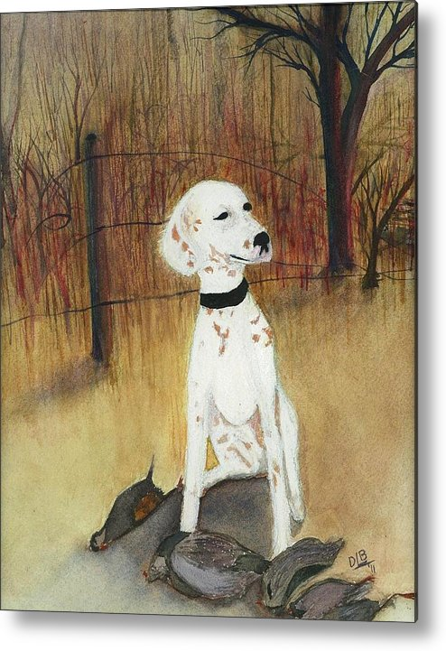 Dog Metal Print featuring the painting First Hunt by David Bartsch