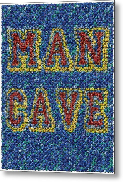 Man Cave Metal Print featuring the mixed media Man Cave Bottle Cap Mosaic by Paul Van Scott