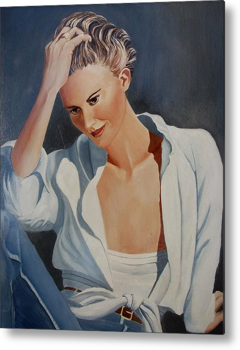 Pensive Metal Print featuring the painting Pensive by Alan Pearson