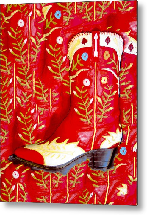 Cowboy Metal Print featuring the photograph Red Boot by Jim Painter