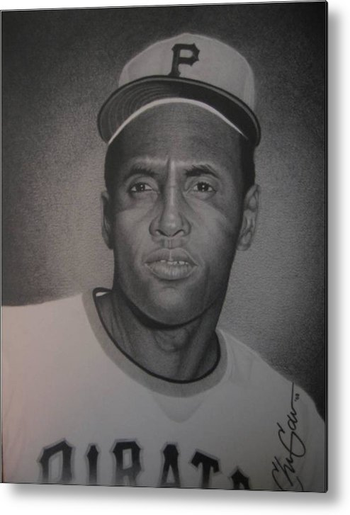 Portrait Metal Print featuring the drawing Roberto Clemente by Christian Garcia