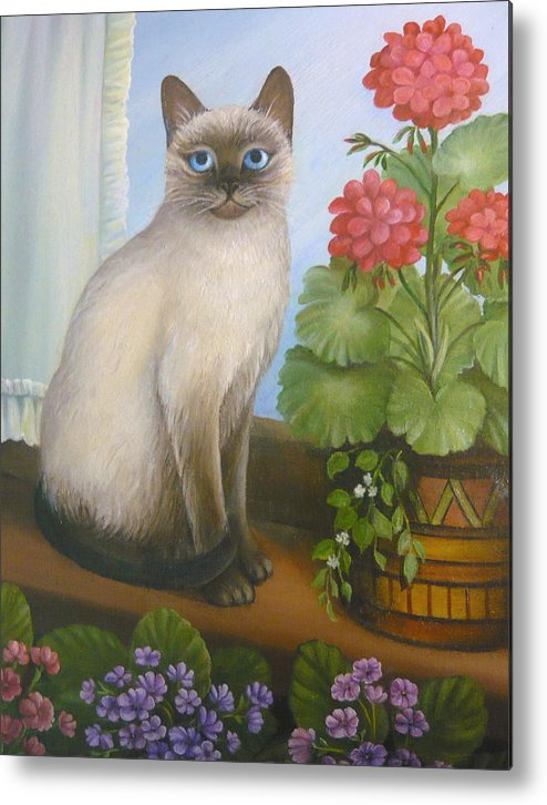 Cats Metal Print featuring the painting Samantha The Siamese Cat by Vivian Eagleson