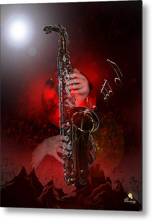 Saxophone Music Hands Outter Space Unknown World Stars Mountains Famous Saskatchewan Artist Digital Print Red Planet Abstract Graduate Band Greeting Card Metal Print featuring the photograph Sax World by Andrea Lawrence