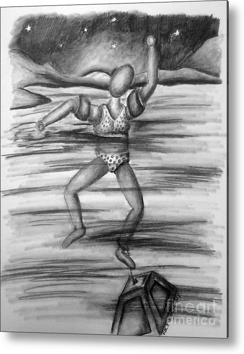 Metal Print featuring the drawing S.o.s. Sinking Or Swimming by Tracy Glantz