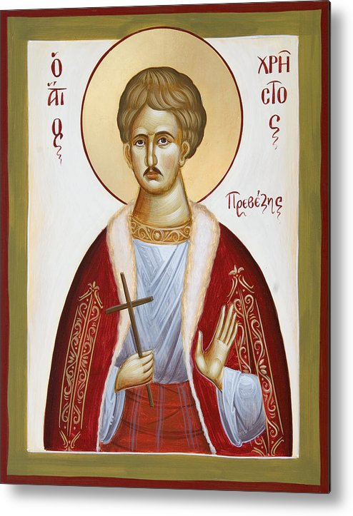 St Chrestos Of Preveza Metal Print featuring the painting St Chrestos Of Preveza by Julia Bridget Hayes