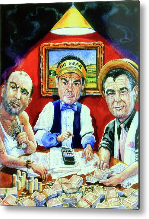 Caricature Art Caricatures Metal Print featuring the painting The Poker Game by Hanne Lore Koehler